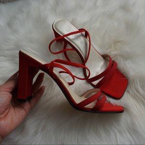 Square Toe 90s Vintage Red Heel Strap Sandal